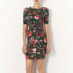 TOPSHOP FLORAL BODYCON WITH ZIP WAIST
